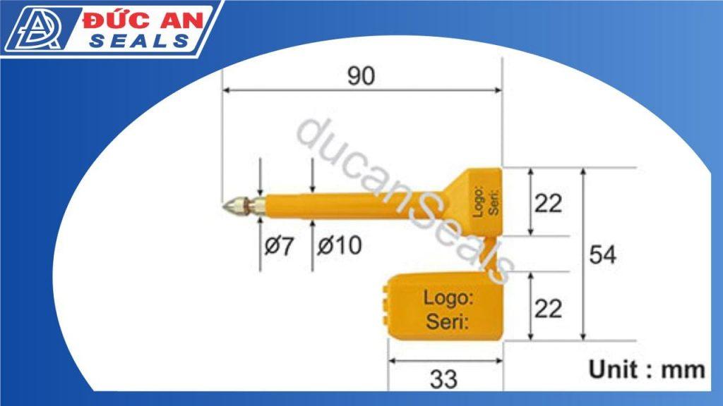 khóa kẹp chì cối seal niêm phong container chì kẹp công da28-kích thước-min